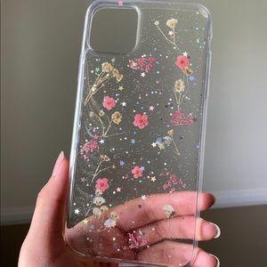 clear iridescent flower phone case